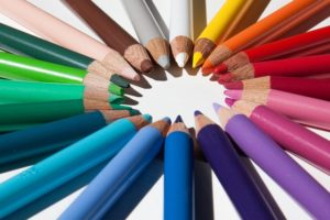 Graphic of colored pencils, representing aesthetically pleasing graphic design.